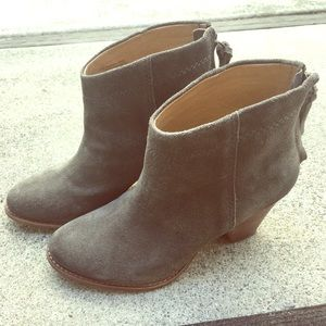 Suede Leather Splendid Booties Size 6.5 Green Gray